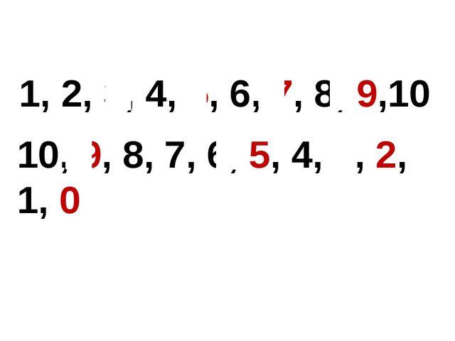 1, 2, 3, 4, 5, 6, 7, 8, 9,10 10, 9, 8, 7, 6, 5, 4, 3, 2, 1, 0