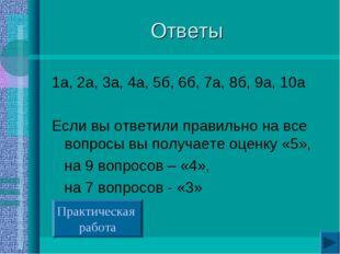 Ответы 1а, 2а, 3а, 4а, 5б, 6б, 7а, 8б, 9а, 10а Если вы ответили правильно на