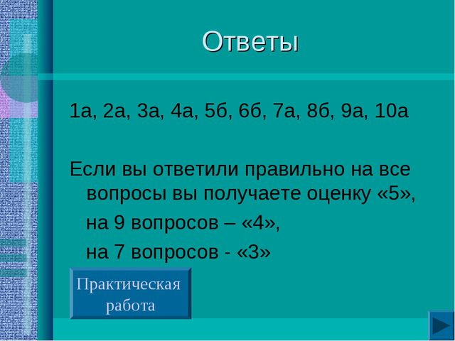 Ответы 1а, 2а, 3а, 4а, 5б, 6б, 7а, 8б, 9а, 10а Если вы ответили правильно на...