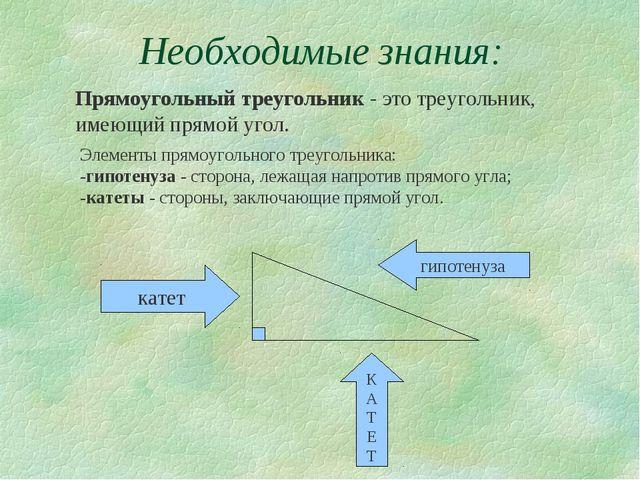 Необходимые знания: Прямоугольный треугольник - это треугольник, имеющий прям...