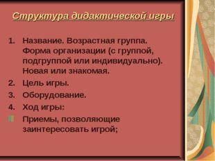 Структура дидактической игры Название. Возрастная группа. Форма организации (