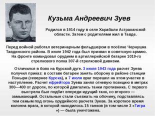 Кузьма Андреевич Зуев Родился в 1914 году в селе Харабали Астраханской област
