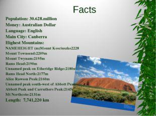 Facts Population: 30.628.million Money: Australian Dollar Language: English M