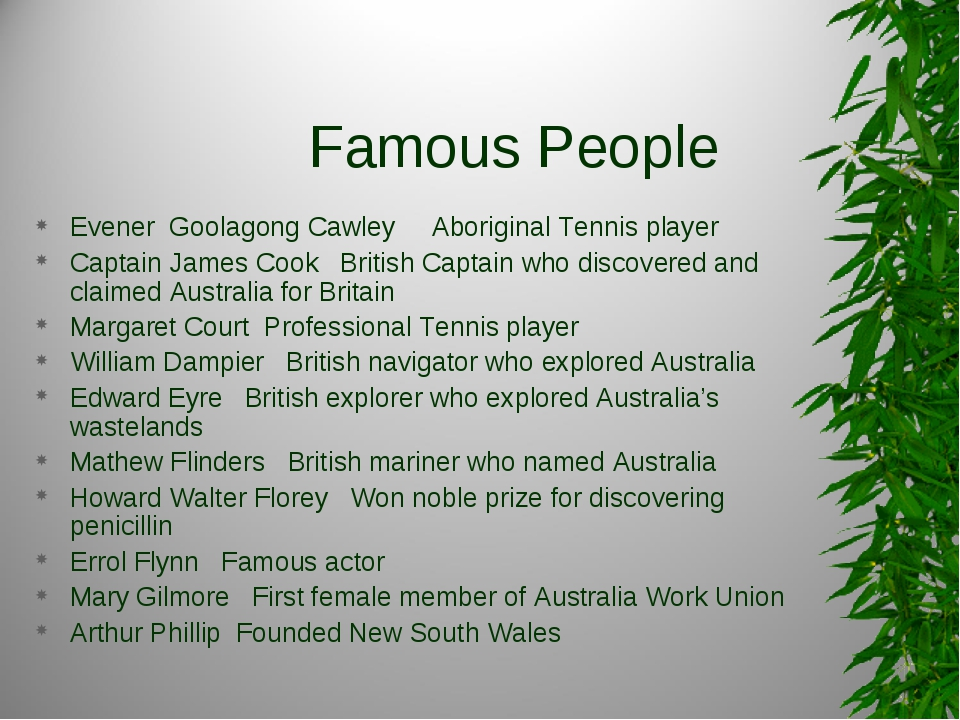 Famous People Evener Goolagong Cawley Aboriginal Tennis player Captain James...