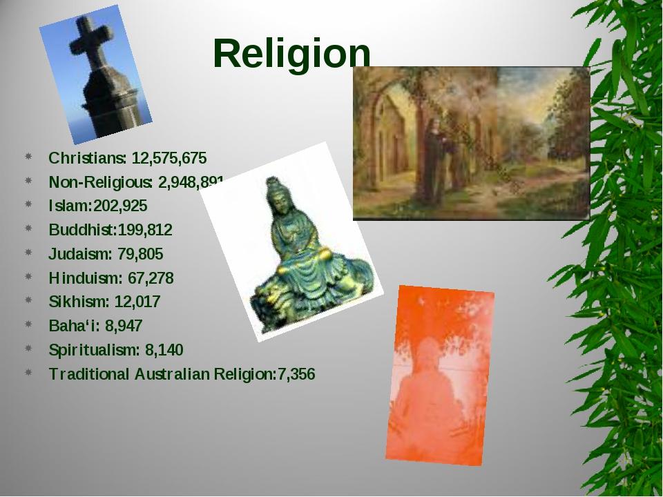 Religion Christians: 12,575,675 Non-Religious: 2,948,891 Islam:202,925 Buddhi...