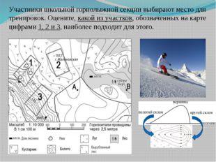 Участники школьной горнолыжной секции выбирают место для тренировок. Оцените,