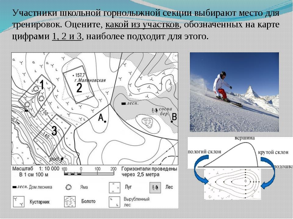 Участники школьной горнолыжной секции выбирают место для тренировок. Оцените,...