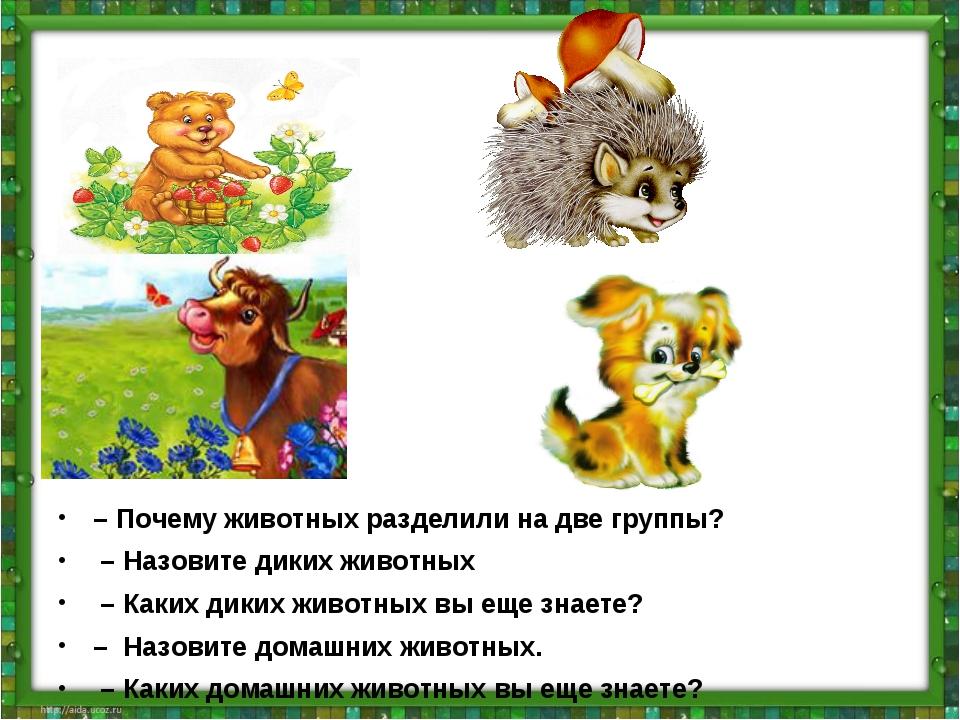 – Почему животных разделили на две группы? – Назовите диких животных – Каких...