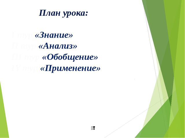 План урока: I тур «Знание» II тур «Анализ» III тур «Обобщение» IY тур «Приме...