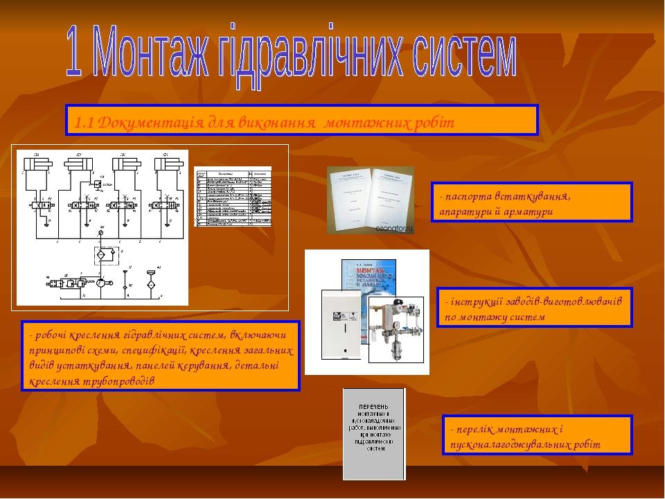 1.1 Документація для виконання монтажних робіт - робочі креслення гідравлічни...
