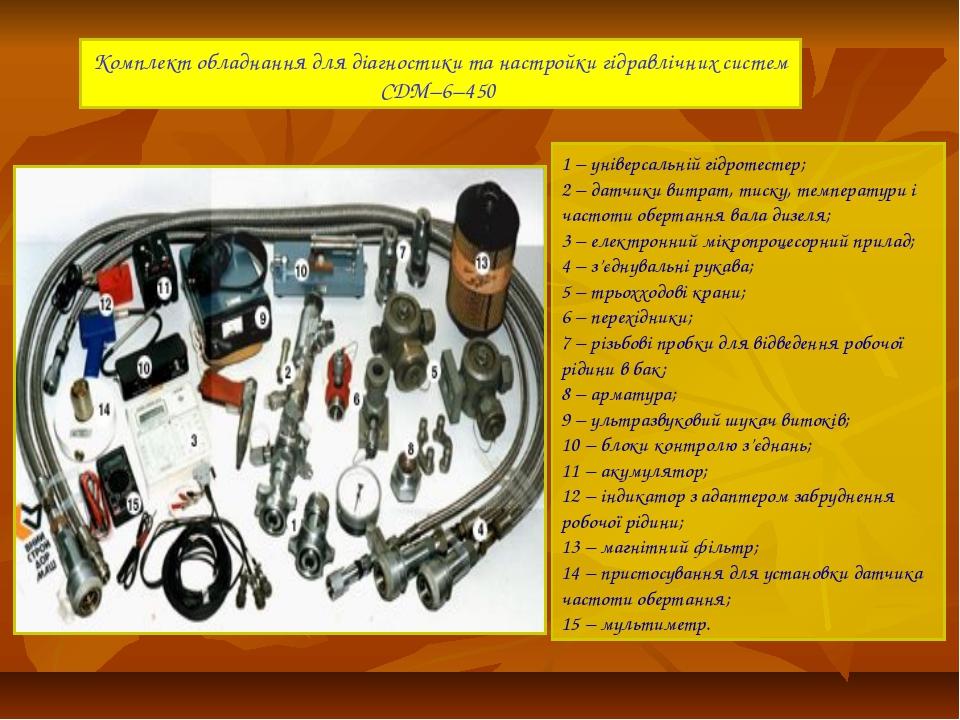 Комплект обладнання для діагностики та настройки гідравлічних систем СДМ–6–45...
