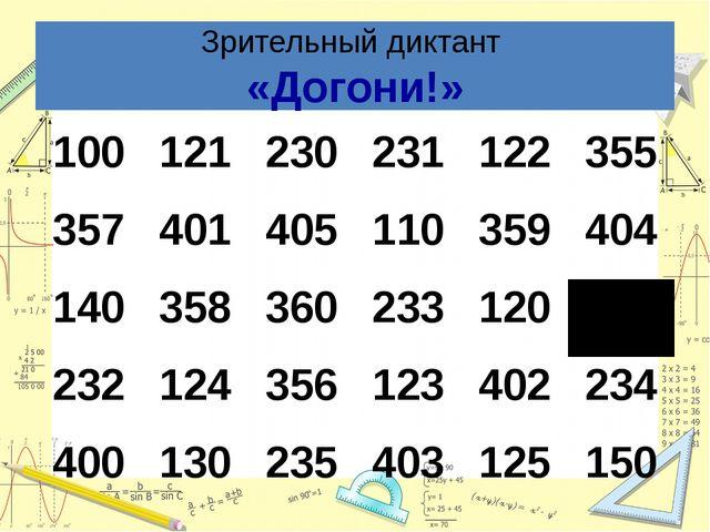 Зрительный диктант «Догони!» 100 121 230 231 122 355 357 401 405 110 359 404...