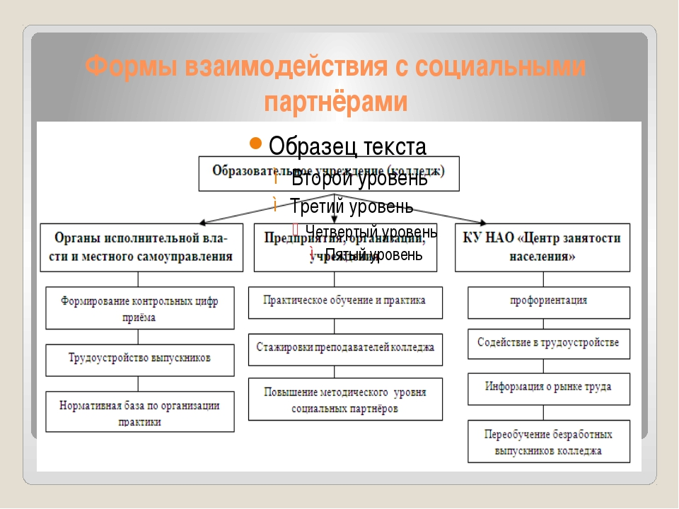 Формы взаимодействия с социальными партнёрами