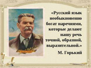 «Русский язык необыкновенно богат наречиями, которые делают нашу речь точной,