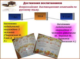 2014 Достижения воспитанников дипломами победителей награждено 4 человека (Дм