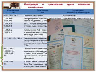 Сроки курсов ПКТема курсов пккОрганизация, в которой пройдены курсы 03.11.-