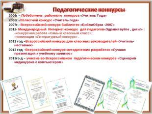 2006г – Победитель районного конкурса «Учитель Года» 2006г.-Областной конкурс