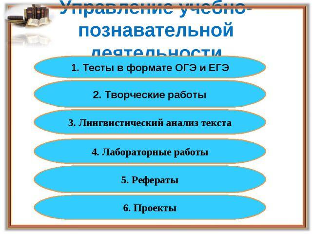 Управление учебно-познавательной деятельности 1. Тесты в формате ОГЭ и ЕГЭ 2....