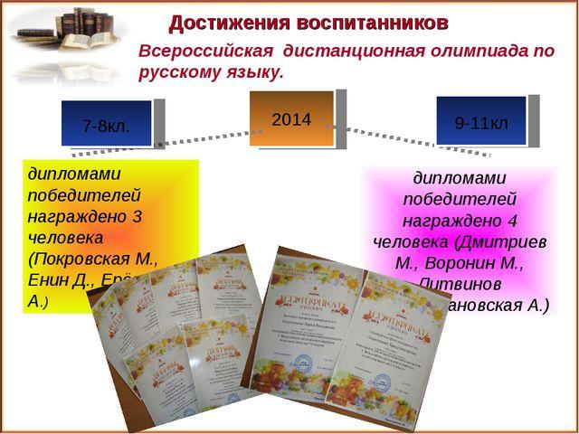 2014 Достижения воспитанников дипломами победителей награждено 4 человека (Дм...