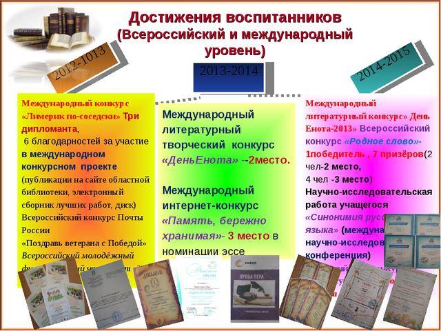 2013-2014 2012-1013 2014-2015 Достижения воспитанников (Всероссийский и межд...