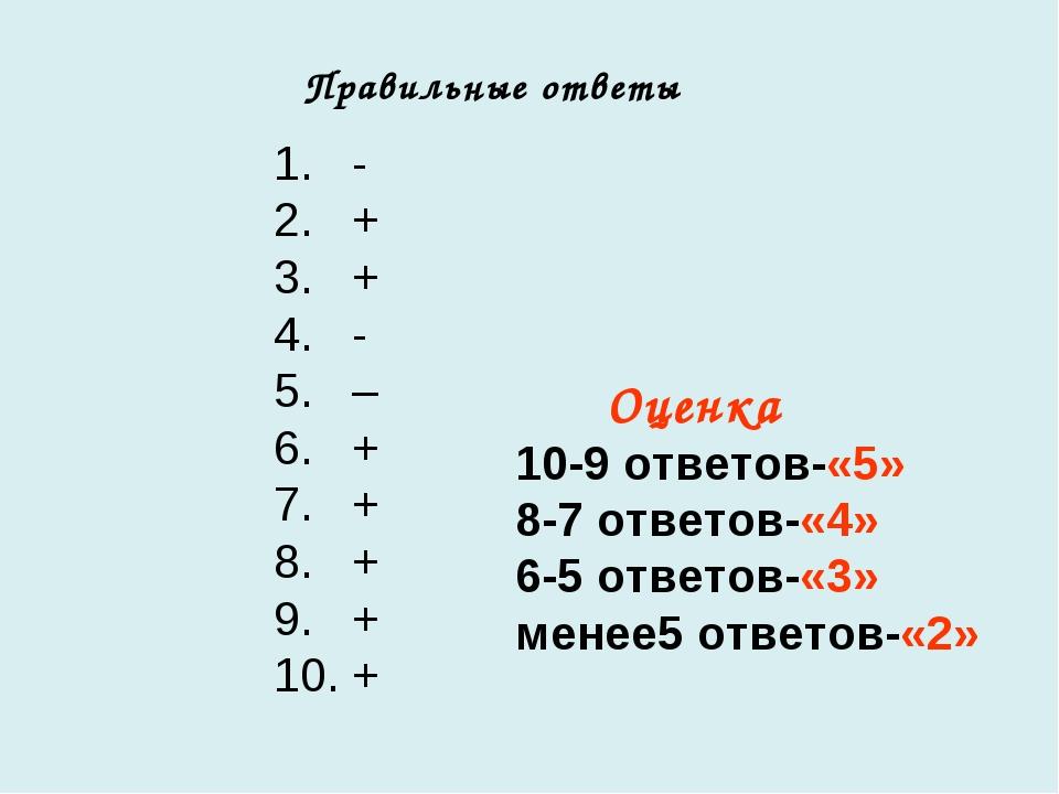 1. - 2. + 3. + 4. - 5. – 6. + 7. + 8. + 9. + 10. + Правильные ответы Оценка 1...