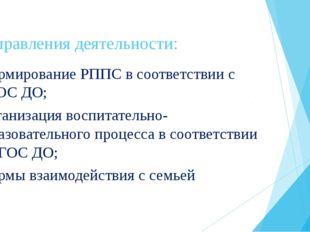 Направления деятельности: -формирование РППС в соответствии с ФГОС ДО; -орган