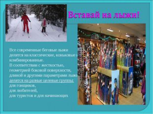 Все современные беговые лыжи делятся на классические, коньковые и комбинирова