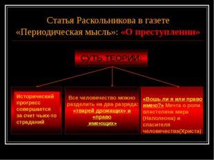 Статья Раскольникова в газете «Периодическая мысль»: «О преступлении» СУТЬ ТЕ