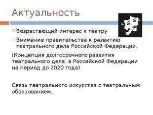 Актуальность Возрастающий интерес к театру Внимание правительства к развитию