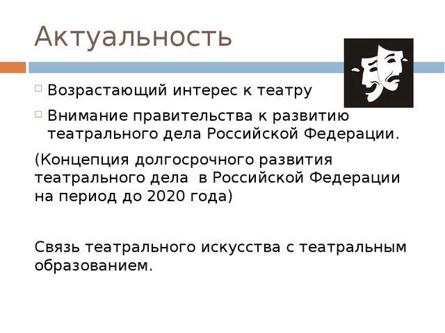 Актуальность Возрастающий интерес к театру Внимание правительства к развитию...