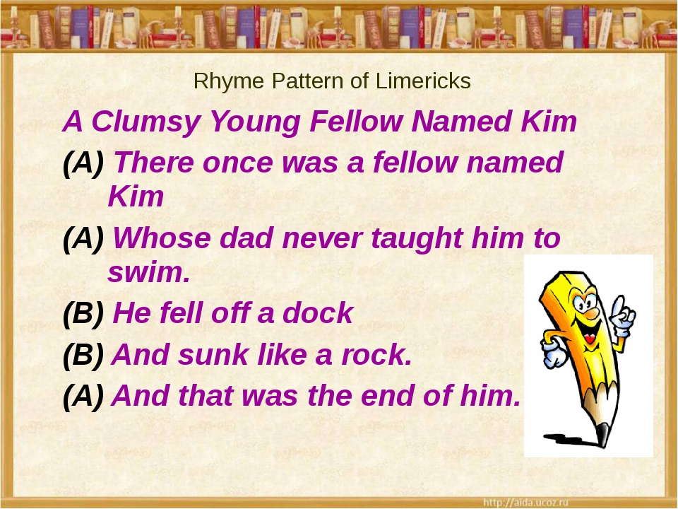 A Clumsy Young Fellow Named Kim (A) There once was a fellow named Kim (A) Who...