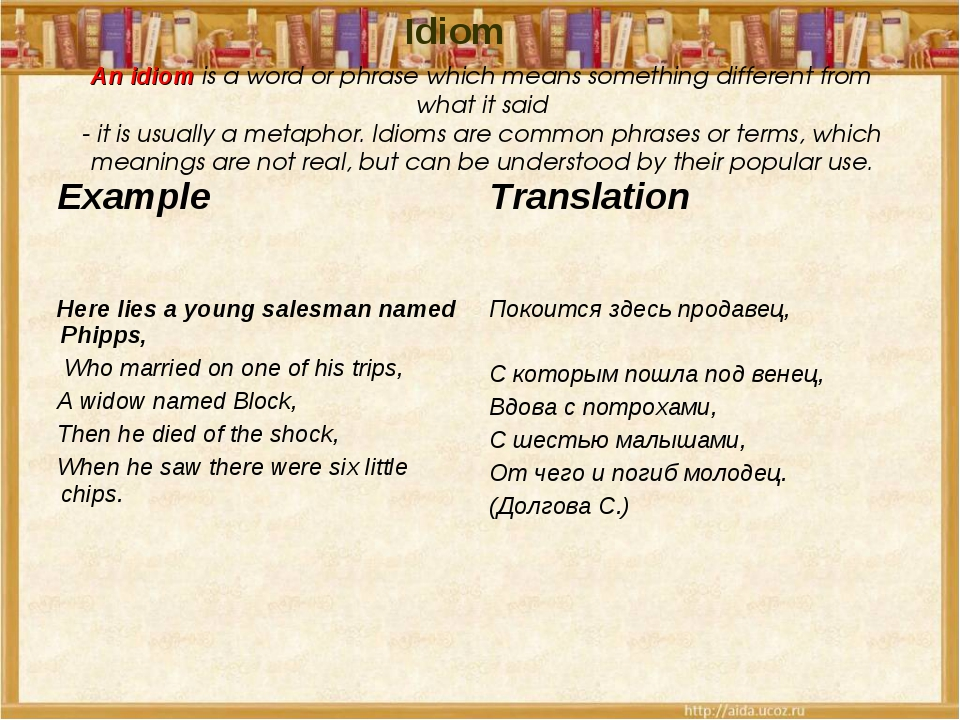 An idiom is a word or phrase which means something different from what it sai...