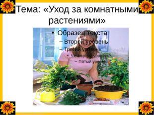 Тема: «Уход за комнатными растениями» FokinaLida.75@mail.ru