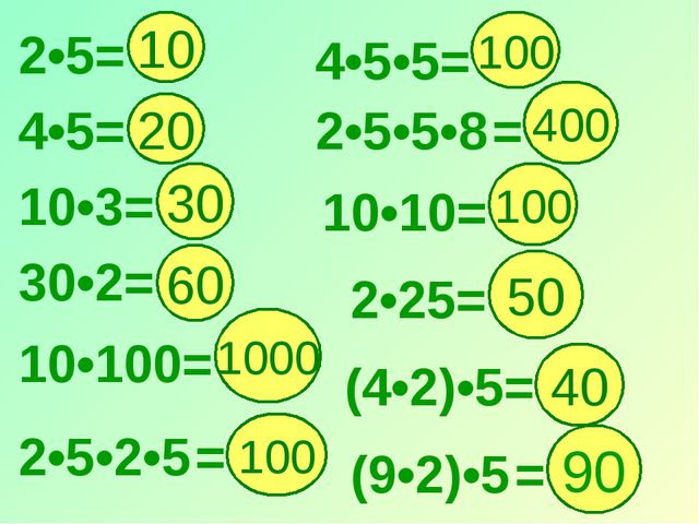 2•5= 10 4•5•5= 20 1000 100 30 100 400 60 4•5= 10•3= 30•2= 10•100= 2•5•2•5 = 1...