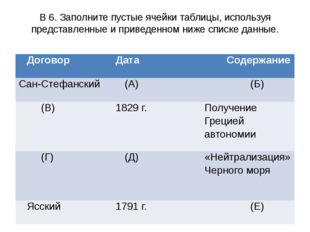 В 6. Заполните пустые ячейки таблицы, используя представленные и приведенном