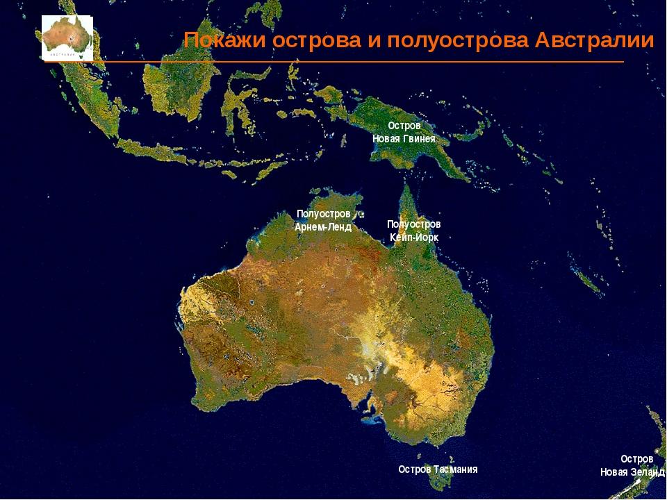 Покажи острова и полуострова Австралии Остров Тасмания Остров Новая Зеландия...