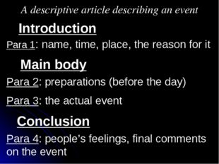 A descriptive article describing an event Introduction Main body Conclusion P