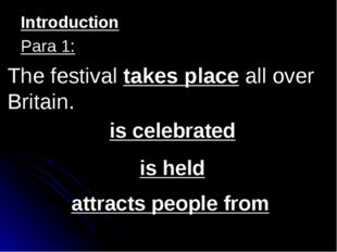 The festival takes place all over Britain. is celebrated is held attracts peo