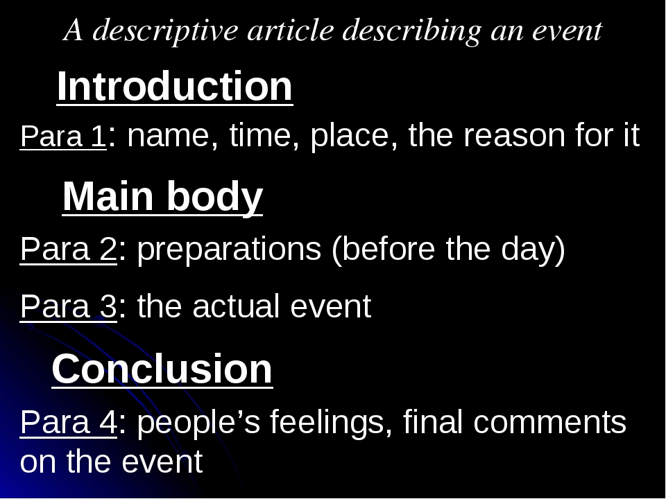 A descriptive article describing an event Introduction Main body Conclusion P...