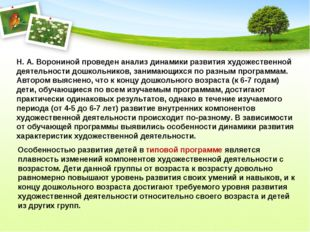 Н. А. Ворониной проведен анализ динамики развития художественной деятельности