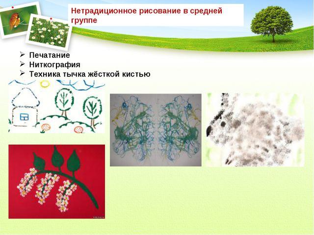 Нетрадиционное рисование в средней группе Печатание Ниткография Техника тыч...