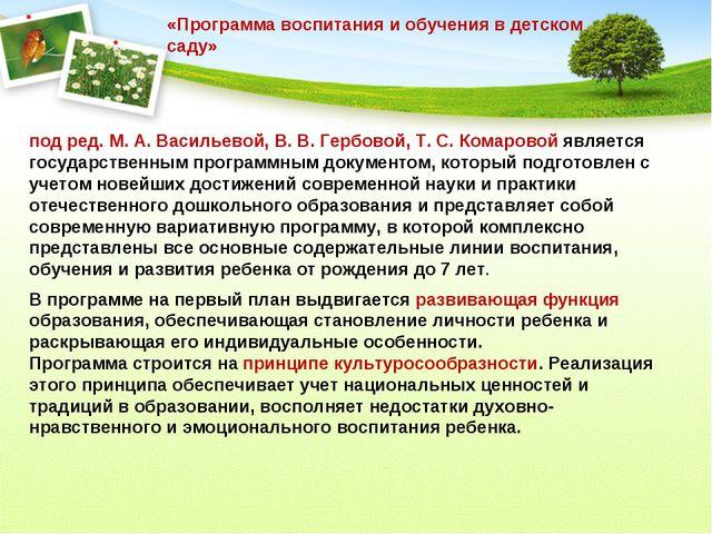 под ред. М. А. Васильевой, В. В. Гербовой, Т. С. Комаровой является государст...