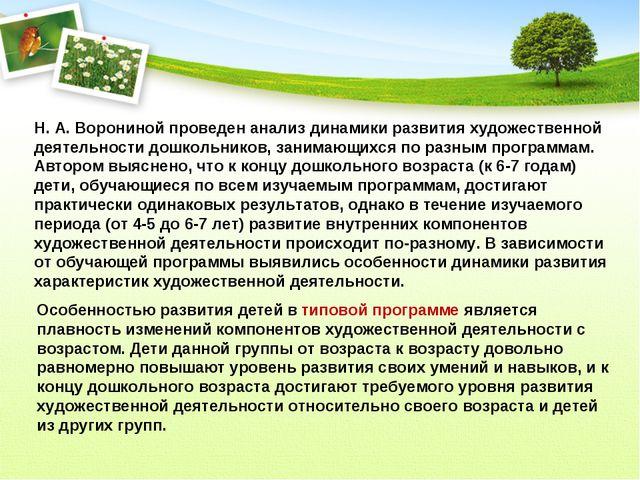 Н. А. Ворониной проведен анализ динамики развития художественной деятельности...