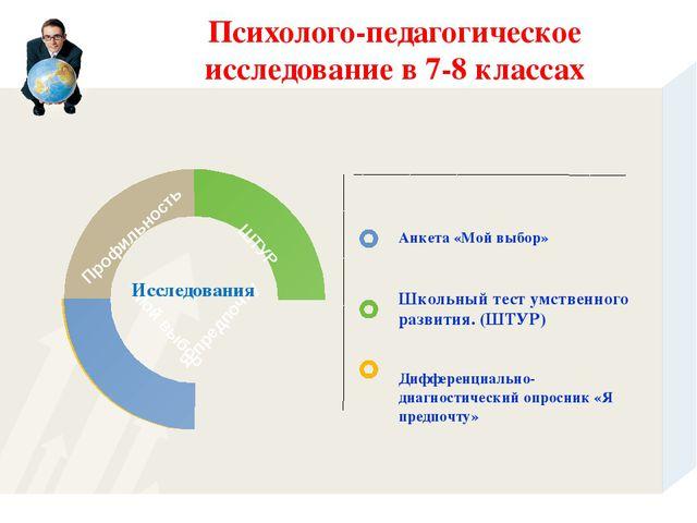 Психолого-педагогическое исследование в 7-8 классах Профильность ШТУР Мой выб...