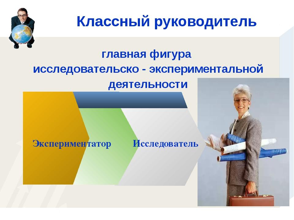 Классный руководитель Исследователь главная фигура исследовательско - экспери...