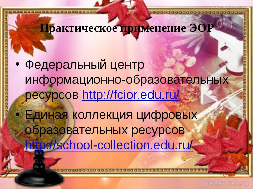 Практическое применение ЭОР Федеральный центр информационно-образовательных р...
