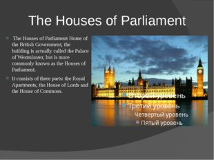 The Houses of Parliament The Houses of Parliament Home of the British Governm