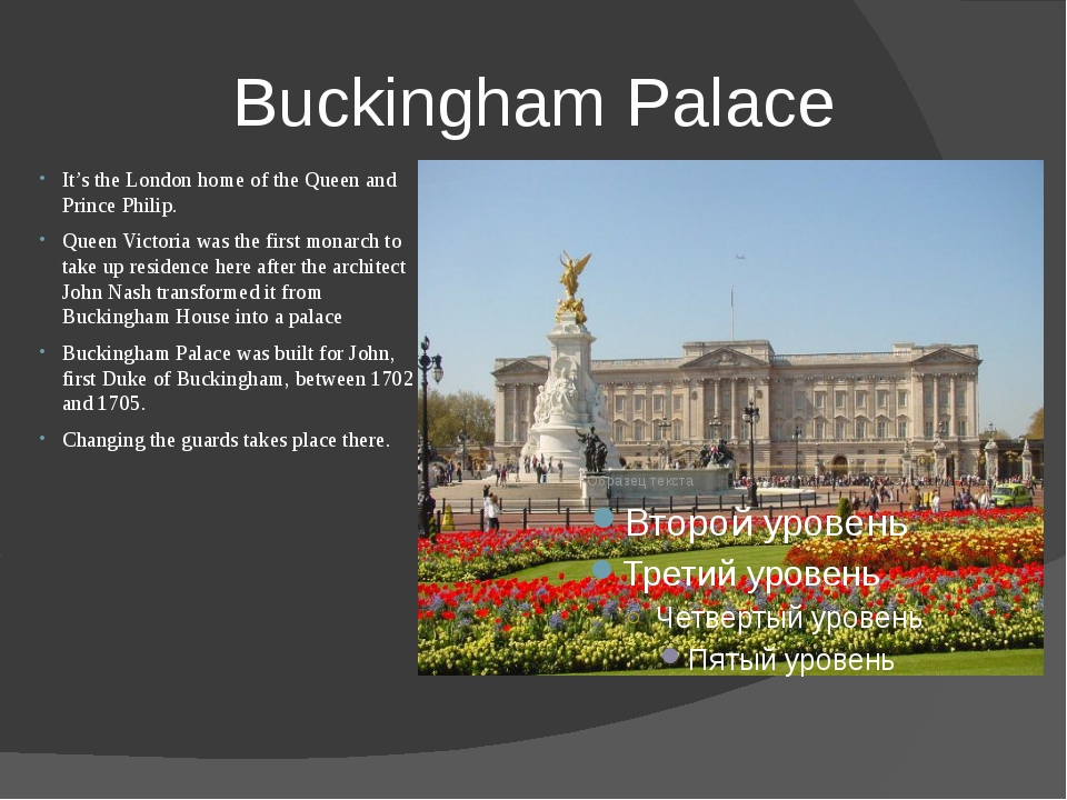 Buckingham Palace It's the London home of the Queen and Prince Philip. Queen...