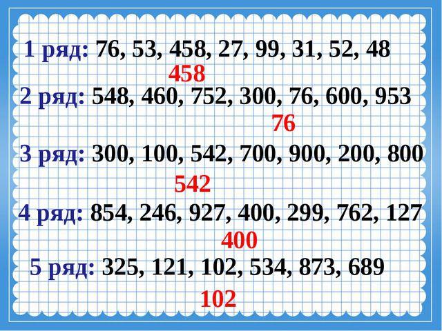 5 ряд: 325, 121, 102, 534, 873, 689  102 2 ряд: 548, 460, 752, 300,...