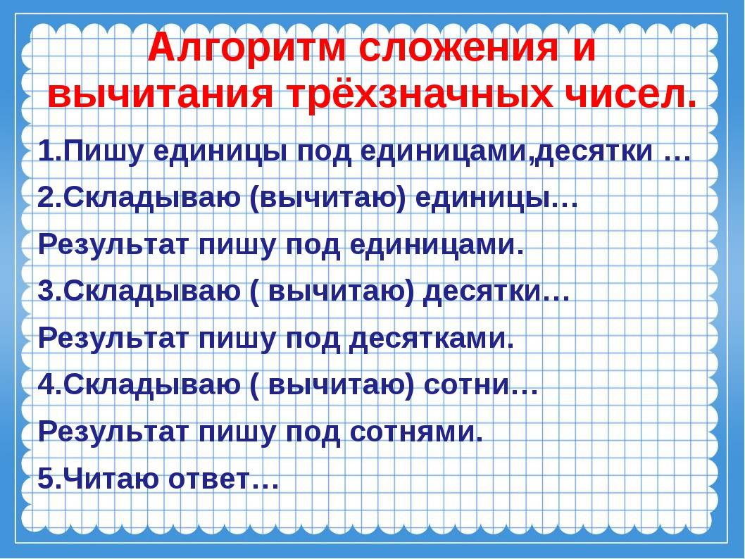Алгоритм сложения и вычитания трёхзначных чисел. 1.Пишу единицы под единицами...